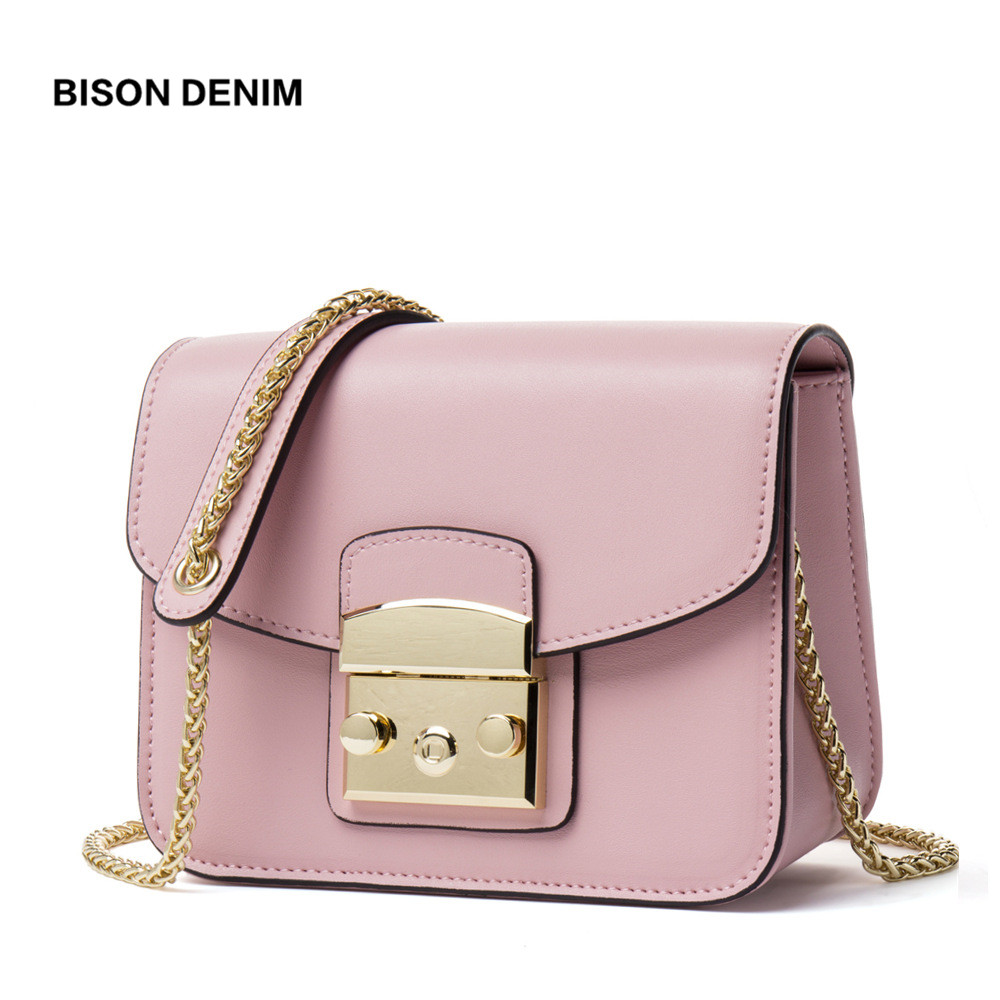 BISON DENIM Genuine Leather Women Bag Cowhide Crossbody Bags for Women 2018 Flap Chains Shoulder Bag