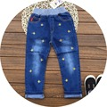 Free Shipping 5pcs/lot 2017 Spring Model Fishes Embroidered Jeans for 3-10yrs Girls and Boys