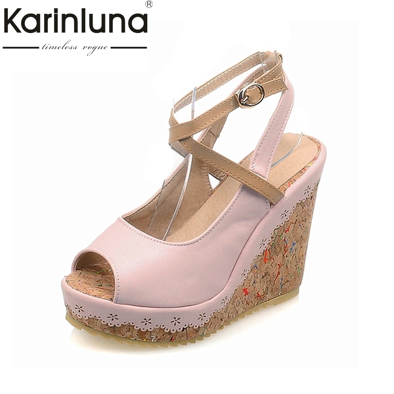 KARINLUNA new big size 33-43 peep toe platform bohemia style wedges high heels women sandals ankle strap woman shoes party