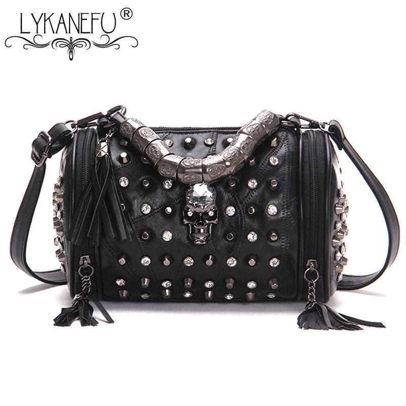 LYKANEFU панк-рок Для женщин Курьерские сумки натуральная кожа Tote кошелек с черепом заклепки черная сумка Для женщин сумка Crossbody
