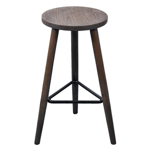 Industrial Vintage Antique Bar Stool Height 66.5cm Round Seat Wooden Loft Style Furniture Counter Bar Stool 3 Leg Solid Wood