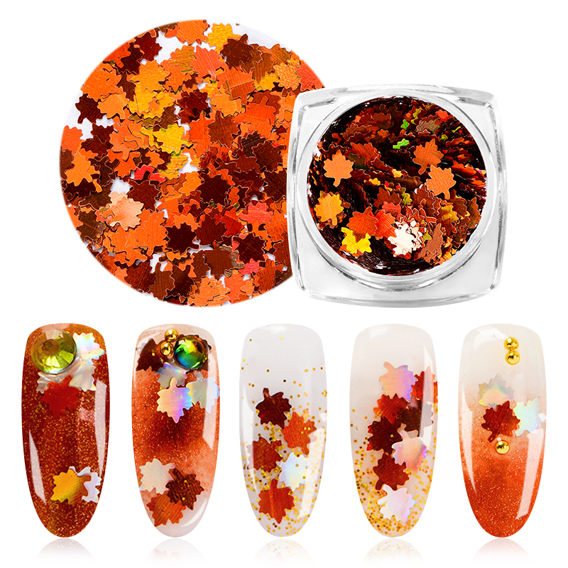 Mtssii 1Box Leaf Flake Nail Glitter Holographic Paillette Nail Sequins Fall Maple Leaf Shape Glitter For Nail Art Decoration