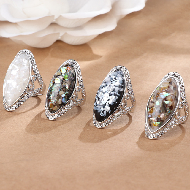 4 Color Vintage Antique Silver Oval Shell Finger Ring