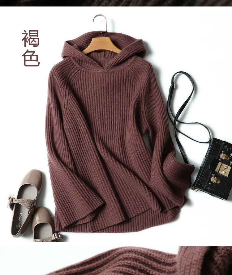 100% Pure Cashmere Hooded Sweater Women Pullover Autumn Winter Knitwear Ladies Thick Warm Loose Womens Jumpers 18 11