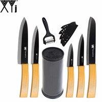 XYj Zirconia Ceramic Knives 7 Pcs Multifunctional Peeler Best 8 Knife Holder Bamboo Handle 6 5