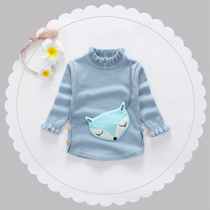 Autumn Winter Baby Girls Cotton Long Sleeve O Neck Loving Heart Pullover Knitwear Sweater Kids Knitted