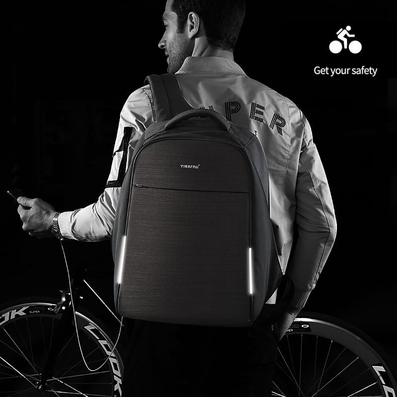 Tigernu Anti-vol sac à dos bande réfléchissante résistant aux éclaboussures mâle sac à dos pour ordinateur portable pour hommes adolescents garçons Fit pour 15.6 ''ordinateur Mochila
