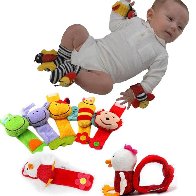 Случайные животные детские руки погремушка запястья и носочки мягкие детские принадлежности