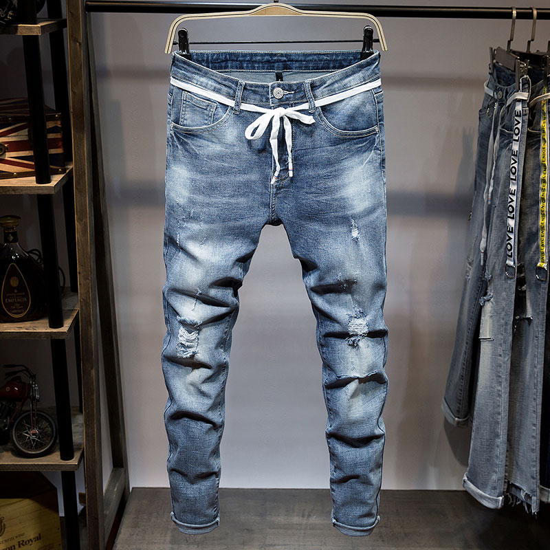 High Quality Mens Jeans 2018 New Denim Pants Solid Scratched Male Full Length Trousers Fashion Pencil Pants 576