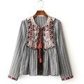 Женщины Моды Этническая Геометрическая Вышивка Куртки И Пиджаки С Длинными Рукавами в Полоску Кисточкой Белл Бисероплетение Повседневная Пальто