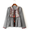 Women Fashion Ethnic Geometric Embroidery Outwear Jacket Long Sleeves Striped Tassel Bell Beading Casual Coat