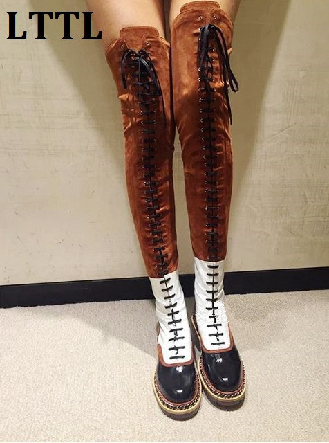 Fashion Mixed Colors Suede And Leather Flat Over The Knee Boots Woman Lace-up Motorcycle Boots Thigh High Booties Zipper Woman rakesh kumar tiwari and rajendra prasad ojha conformation and stability of mixed dna triplex