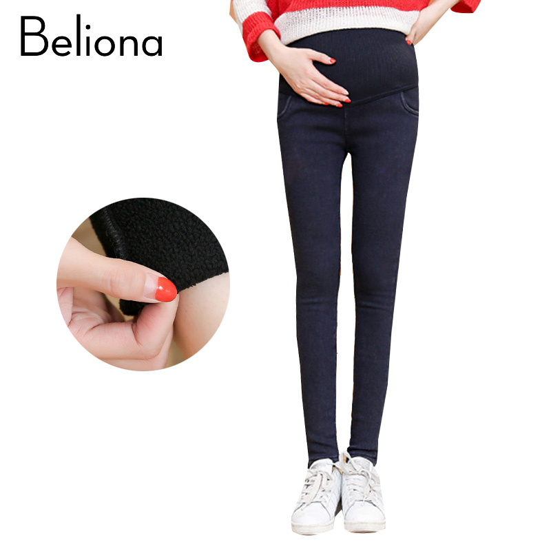все цены на Elasticity Thick Warm Maternity Jeans Pants Denim Trousers for Pregnant Women Maternity Clothes Autumn Winter Pregnancy Clothing