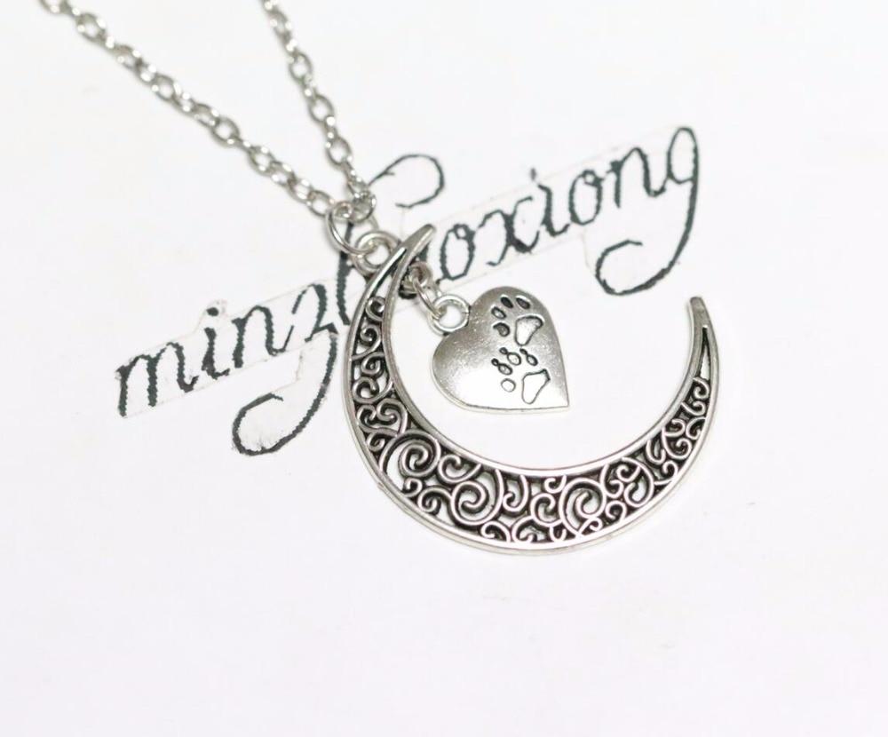 Crescent Moon & Heart Dog Paw Prints Pendant Chain