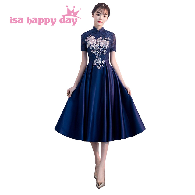 158cf9b3337 women s elegant 2018 peplum fitted evening gowns party lace applique navy  blue dress formal gown dresses under 100 H4281