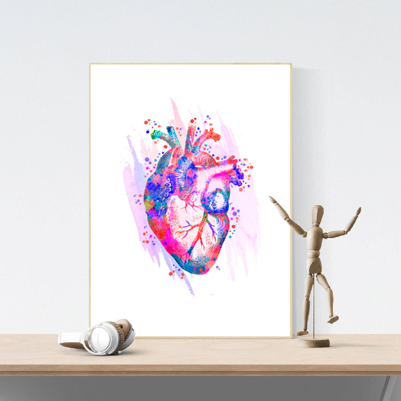 Human Heart Anatomical Art Posters and Prints Medical Anatomy Wall Art Painting Watercolor Medicine Picture Doctors Office Decor art