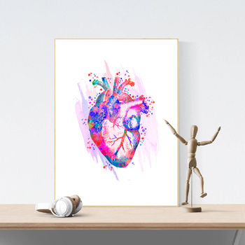 Human Heart Anatomical Art Posters and Prints Medical Anatomy Wall Art Painting Watercolor Medicine Picture Doctors Office Decor