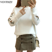 Autumn Winter Embroidery Sweater Women Long Sleeve Knitted Pullover 2017 Casual Womens Sweaters And Pullovers Loose