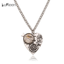 LuReen Steampunk Heart Watch Gear Pendant Necklace Vintage Antique Silver Long Chain  Statement Necklace Jewelry Gift LN0239
