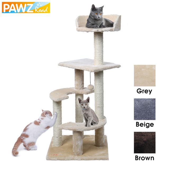 H100 Pet Cat Climbing Tree Playing Toys Scratching Solid Wood Cats ...