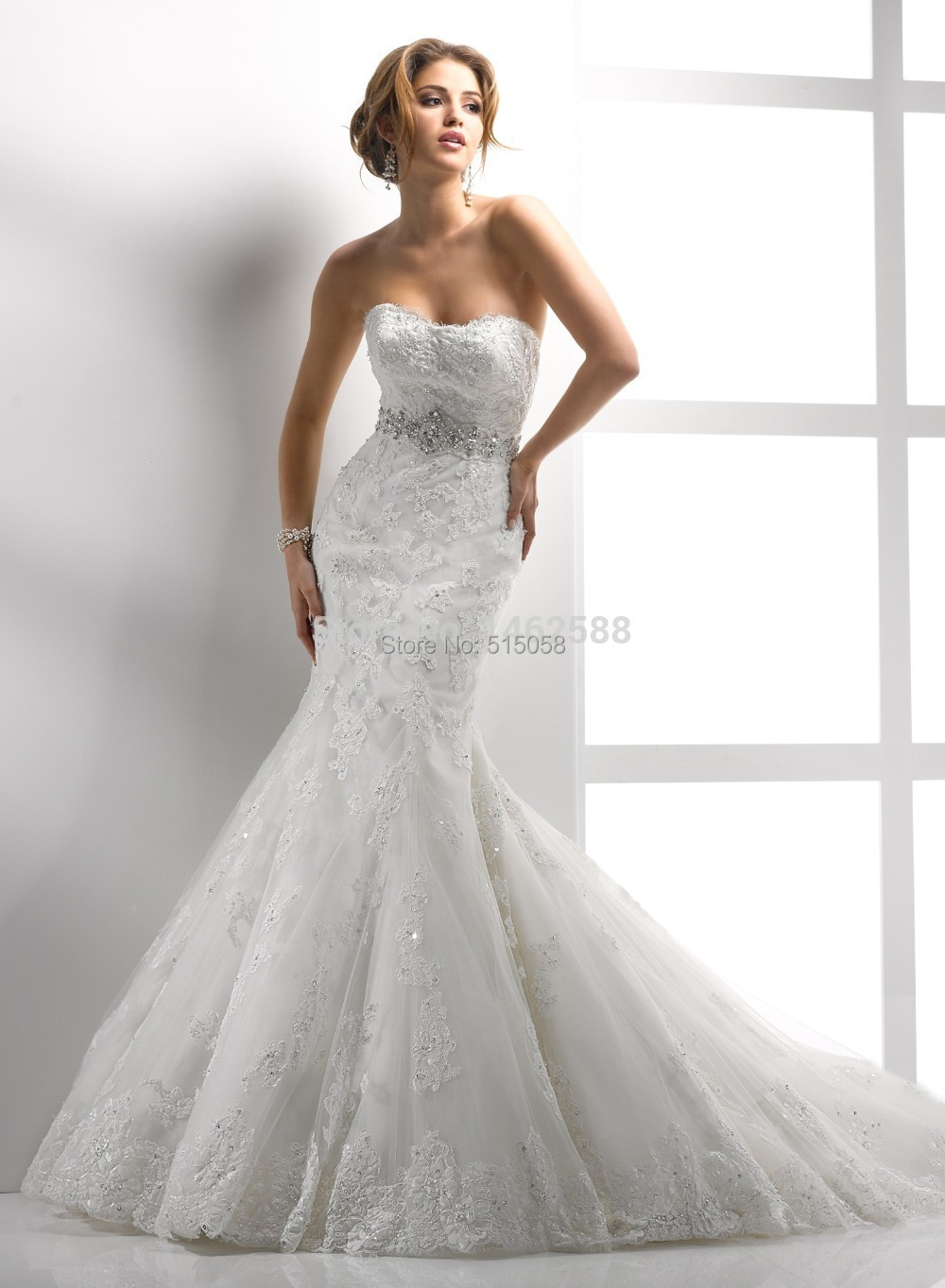 Wedding Dress With Bling Lace