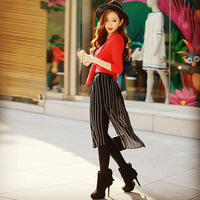 Original New Arrival 2016 Brand Black Striped Ladies Slim Fashion Elegant Autumn Skirt Leggings Women