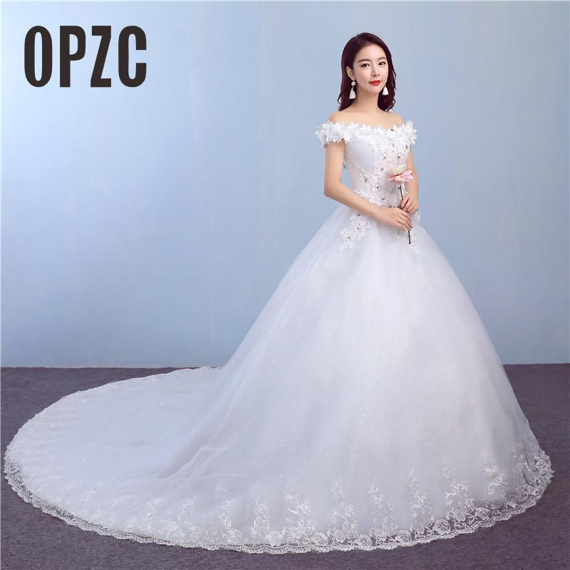 Velnosa Real Photo Royal Luxury BigTrain 2018 New Spring Lace Flower Sexy Ball Gown White Princess