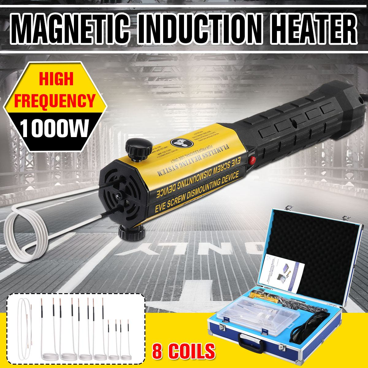 Induction Heater Bolt Heat Remover Tool Kit 110V/220V 1000W Magnetic Induction Flameless Heater With 8 Coils Car Repair Tool