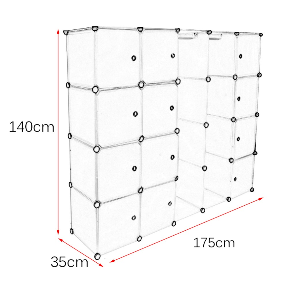 12 Grids+2 Rows Wardrobes Simple Resin Storage Box Cabinet Diy Assembled  Extra Large Magic Child Wardrobe Closet Organizer