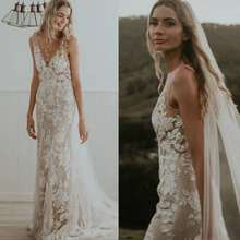 UMK Sexy Deep V Backless Mermaid Wedding Dress Court Train