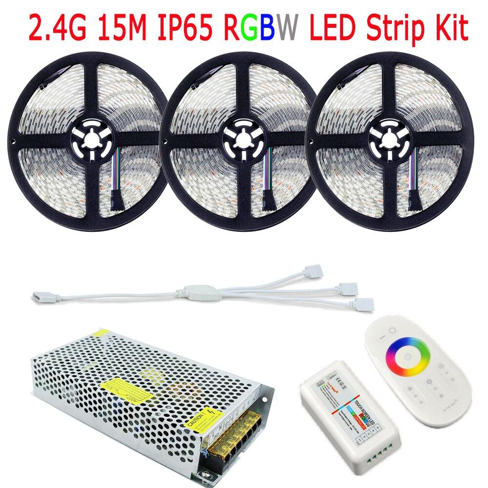 20 M SMD 5050 RGBW RGBWW LED bande IP65 silicium étanche 60 LED/M lumière à la maison 2.4G RF télécommande RGBW contrôleur 12 V 15A alimentation