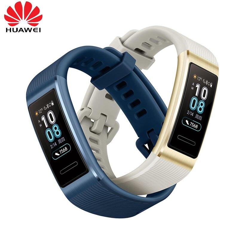 2019 nuevo original Huawei Band 3 Pro banda inteligente GPS marco de Metal Amoled Color pantalla táctil natación Sensor de ritmo cardíaco sueño rastreador