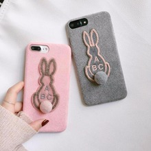 BINYEAE Winter Fabric Phone Case For iPhone 6 6S 7 8 Plus X 10 Cover Soft Plush Rabbit Small Pompom Furball Case For iPhone 6S
