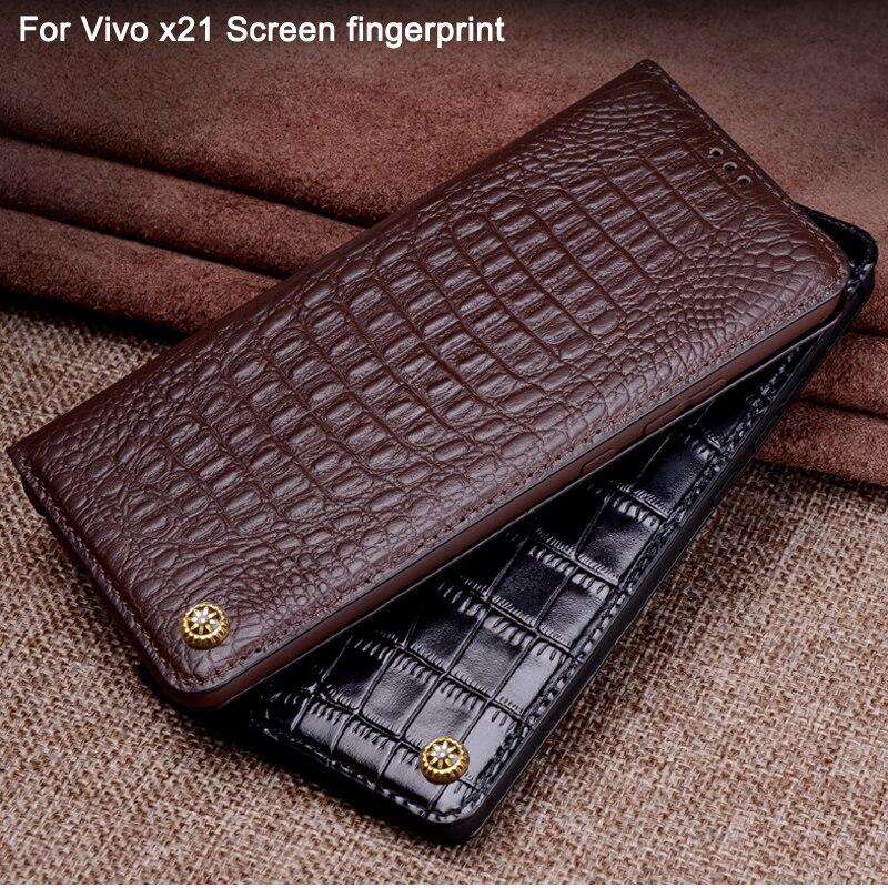 X21 coque en cuir véritable pour Vivo x21 X 21 écran d'empreintes digitales capas étui à rabat coque pour Vivo x21 UD