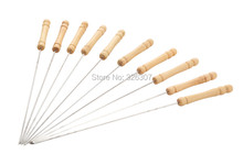 Из нержавеющей стали барбекю барбекю продуктов-бесплатная открытый инструменты аксессуары деревянной ручкой отдых пикник 10 ручки