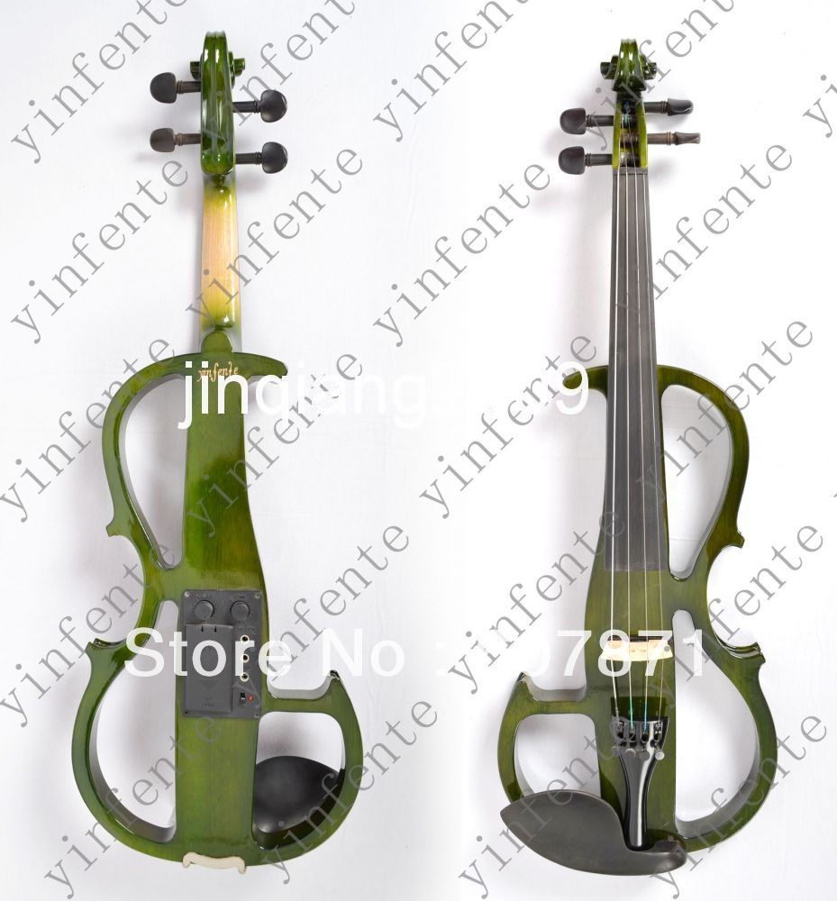 green 4/4  High quality 4 Strings Electric violin 4 4 high quality 5 string electric violin yellow 2 pickup violin