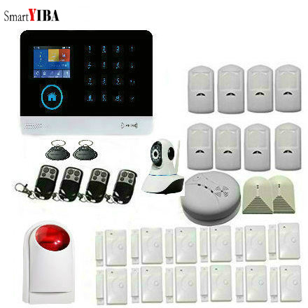цена на SmartYIBA Home Security WIFI GSM Alarm System Kits Wireless Siren Smoke Detector PIR Window Sensor Doorbell RFID Remote Control
