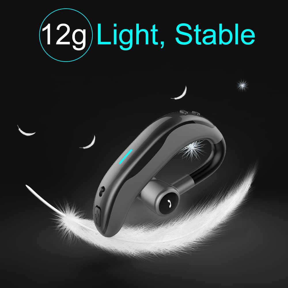 IPUDIS Bluetooth auricular manos libres inalámbrico solo auricular 170mAh 17H tiempo de conversación con micrófono para el conductor del coche