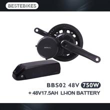 2018 bafang bbs02b 750w batería del kit de motor 48V17.5AH bbs02 kit batería moteur a batterie bafang trousse bafang kit mit akku
