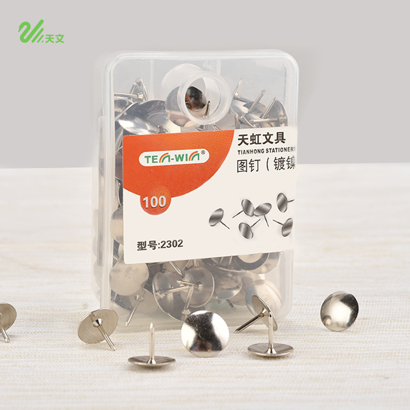 100 Pcs/lot Office Thumbtacks Drawing Pushpin Metal Map Tacks Cork Boards Pins Stationery Pin School Supplies