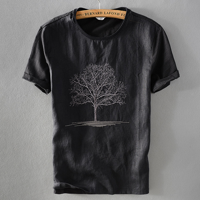 7ca78097e7 2018 nueva llegada negro camiseta hombres verano Lino Camiseta cuello  redondo bordado Lino manga corta Camiseta