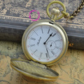 Оптовая Цена Хорошее Качество Ретро Старинные Классический Щит Шаблон Короткие Руки Медь Латунь Механические Карманные Часы