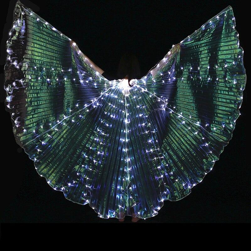 8 pétales Coloré Led Isis Ailes avec Bâton De Danse Du Ventre Accessoire Accessoires de Performance de Scène Club De Danse Du Ventre Lumière Up Show costume