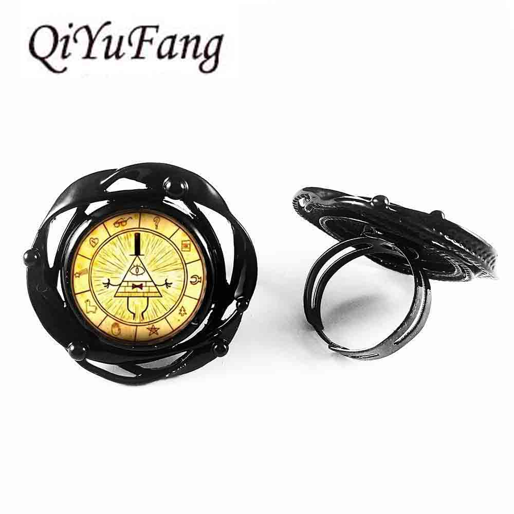 18 Styles Steampunk Gravity Falls Mabel Pig Bill Cipher Wheel Friends Gift Flower Big Ring Doctor Who 1pcs/lot Vintage Ring Jewelry & Accessories