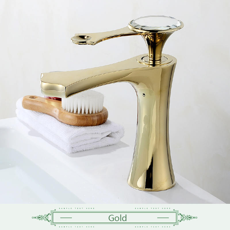 FLG Basin Faucets Mixer Taps Single Hole Gold Bathroom Faucets Black Bathroom Sink Faucet Diamond on Handle Water Mixer flg basin faucets modern orb bathroom faucet waterfall faucets single hole cold and hot water tap basin faucet mixer taps