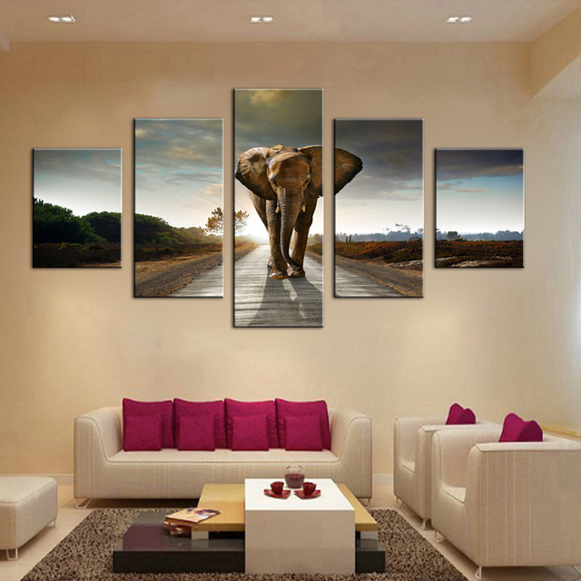 Elephant Home Decoration Wall Pictures For Living Room Art 5 Piece Large Canvas Paintings Print Oil