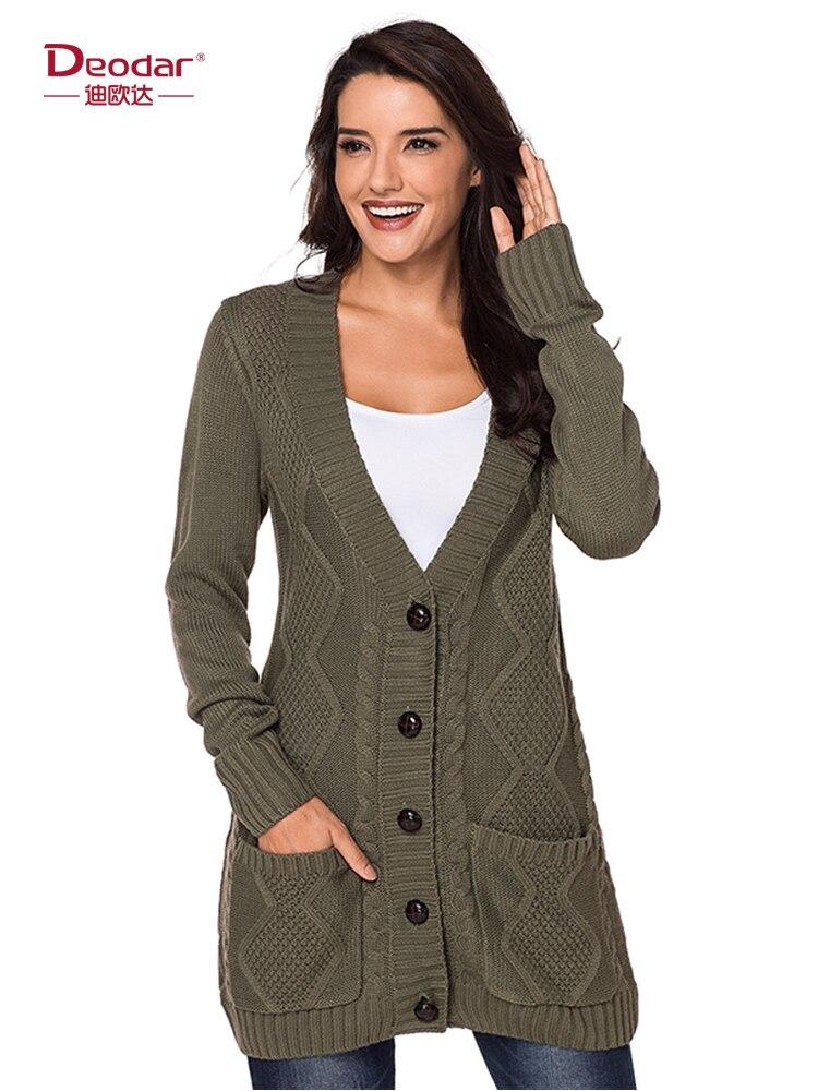 Deodar Winter Woman Sweater Female Women's Cardigan Long Sweater Knitting Long Sleeve Solid Fashion Pocket Hooded Gray Cardigan