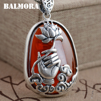 BALMORA 990 Pure Silver Hand Flower Pendants For Women Men Vintage Red Zircon Jewelry Accessories Without