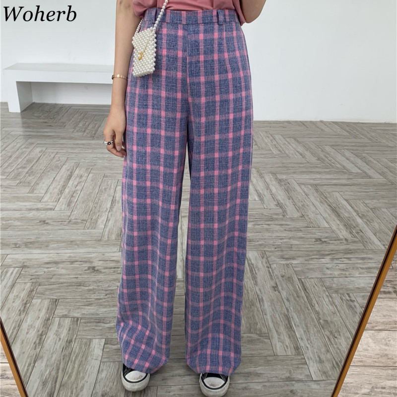 Woherb 2019 Summer Elastic High Waist   Wide     Leg     Pants   Women Sweet Plaid Trousers Korean Casual   Pant   + Short Sleeve T-shirt 22346