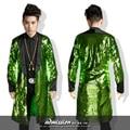 green gold long sequins jacket outwear male singer dancer performance blazer prom ds DJ party show bar nightclub